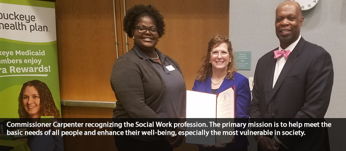Commissioner Carpenter recognizing Social Workers